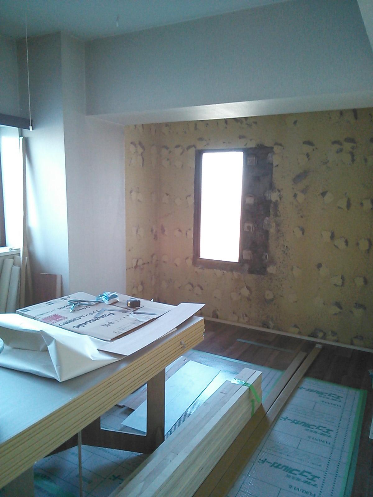 既存の壁(石膏ボードを壊した状態)